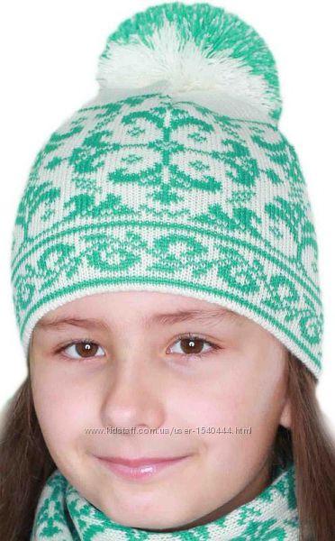 Комплект для девочки шапка и шарф от ТM Babasik р. 54-56