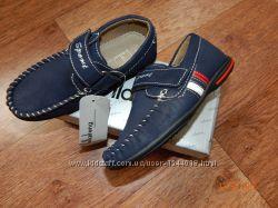 Туфли мокасины на липучке