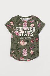 Брендовая футболка хаки с надписью на девочек, H&M
