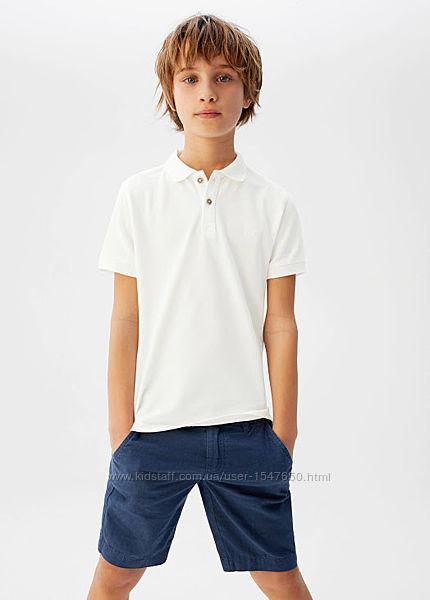 Белая футболка поло, тенниска на мальчика, Mango