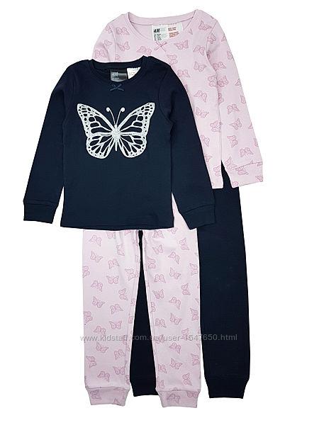 Комплектом стильные пижамы с бабочками на девочек H&M
