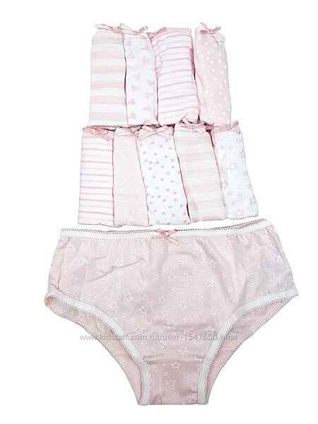 Комплект из 10 бело-розовых трусиков на девочек, трусы primark