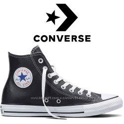 Кеды Converse All Star Чёрные Кожаные Конверсы 132170C