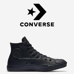 Кеды Converse All Star Чёрные Кожаные Конверсы 135251C
