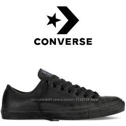 Кеды Converse All Star Чёрные Кожаные Конверсы 135253C