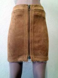 Замшевая юбка с вертикальной молнией размер евро 34 33-20Н
