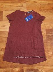 Детское бордовое платье с коротким рукавом размер 86-92, 36-22 Ю