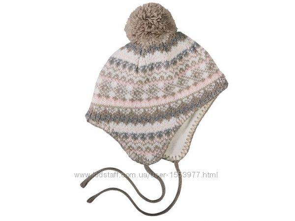 Зимняя детская шапка с бубоном и завязками размер 62-74, 36-41 Ю
