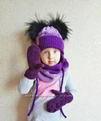 Комплект, шапка зимняя для девочки бу