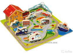 Деревянный набор Город обьемный пазл  конструктор Playtive