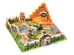 Деревянный набор Животные в зоопарке обьемный пазл конструктор Playtive