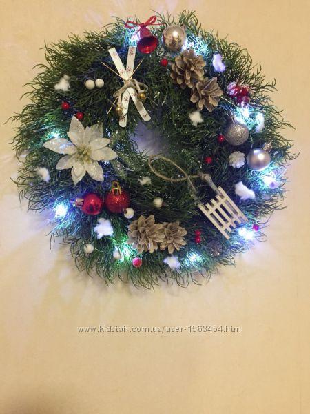 Рождественский веночек с LED подсветкой