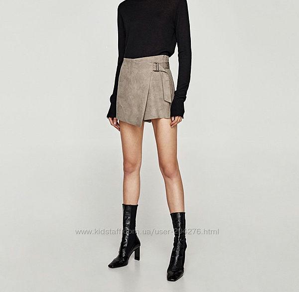 Шорты-юбка замшевые Zara