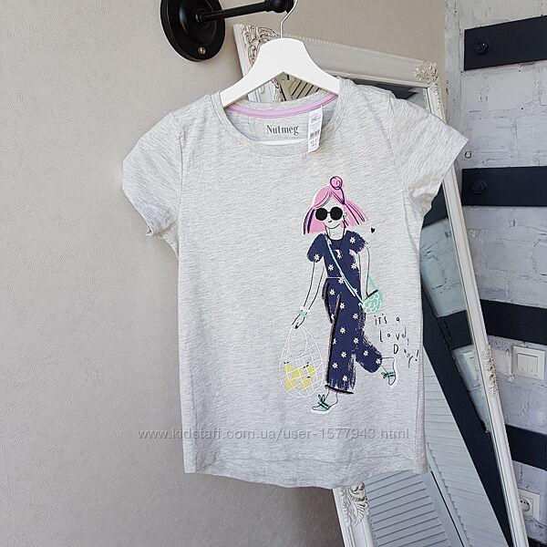 Трикотажная футболка с принтом девочка Nutmeg