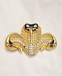 Пряжка для ремня змея золотая с тремя головами камни кристаллы бижутерия