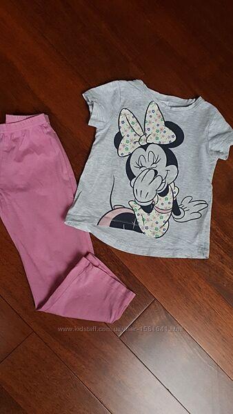 Пижама Minnie Mouse, 4-5 лет, футболка, штаны, летняя, легкая