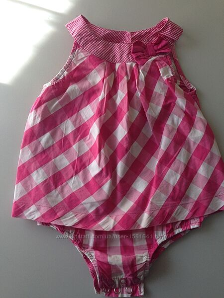 Платье-бодик-песочник в квадраты малиновый Carter&acutes 24 мес