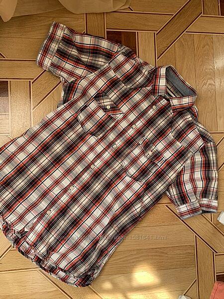 Летняя рубашка мужская в клетку на короткий рукав, Jack&Jones, размер M