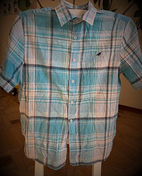 Летняя рубашка мужская в клетку на короткий рукав, льняная, Stone Bay, лен,