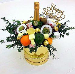 Пивной букет, фруктовый букет, букет из конфет, букет из фруктов, подарок