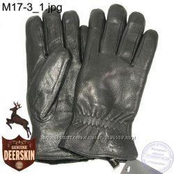 Мужские зимние перчатки из оленьей кожи на цигейке натуральный мех M17-1