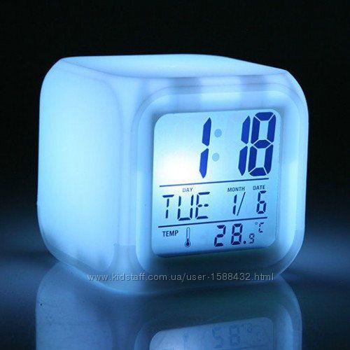 Часы хамелеон ночник термометр будильник