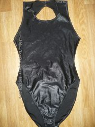 Купальник Трико спортивное черное блестящее XS S
