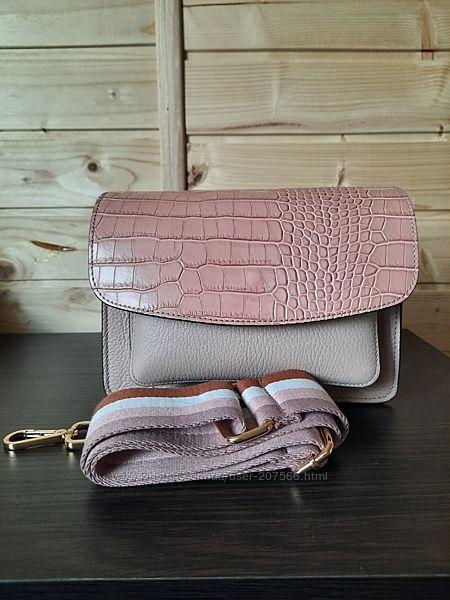 Кожаная сумка кроссбоди Vera Pelle с широким ремнём. Производство Италия