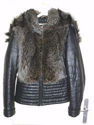 Крутая кожаная куртка/меховая жилетка