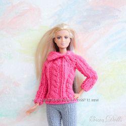 Свитер с косами для Барби