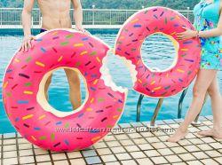 Надувной круг пончик все размеры 80 см розовый шоколадный для детей