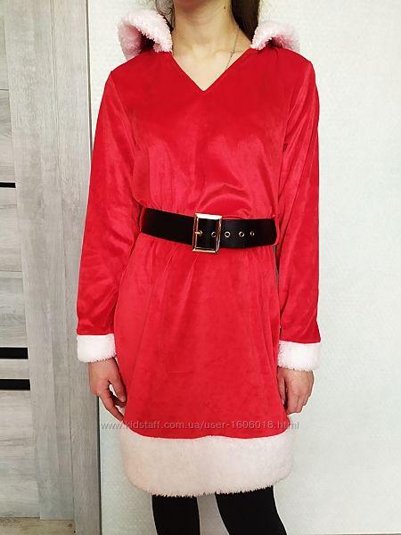 Платье новогоднее помощница Санты снегурочка.