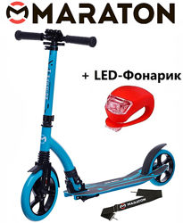 Городской самокат Maraton Air Max 2021 синий  Led фонарик