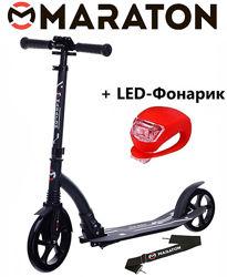 Городской самокат Maraton Air Max 2021 черный  Led фонарик