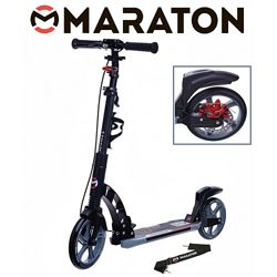 Городской самокат Maraton Dynamic Disc 2021 черный  Led фонарик