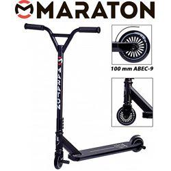 Самокат трюковый Maraton Extreme Черный без пег Маратон Экстрем