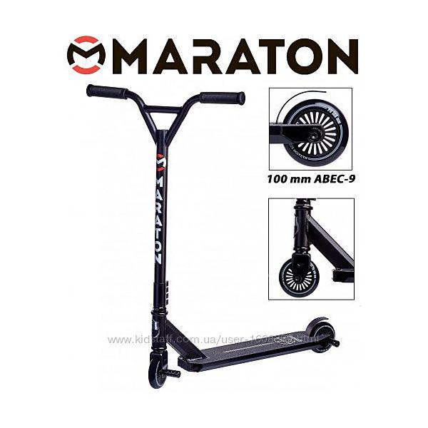 Самокат трюковый Maraton Extreme Черный без пег