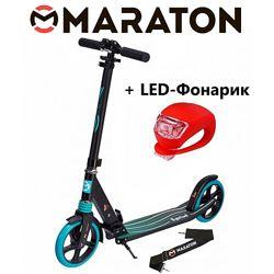 Городской самокат Maraton Sprint зеленый  Led фонарик