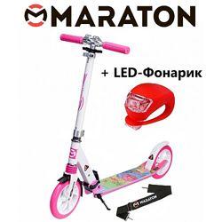 Городской самокат Maraton Sprint розовый с рисунком  Led фонарик