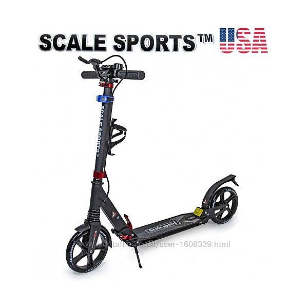 Двухколесный самокат Scale Sports SS-10 2021 Черный  Led фонарик