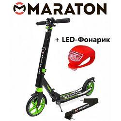 Городской самокат Maraton Pro зеленый  Led фонарик