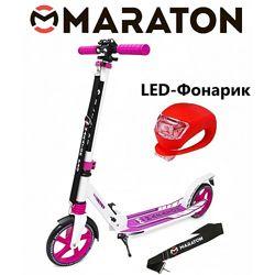 Городской самокат Maraton Pro розовый  Led фонарик