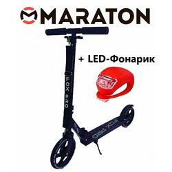 Самокат двухколесный Maraton Fox Pro Черный  Led фонарик