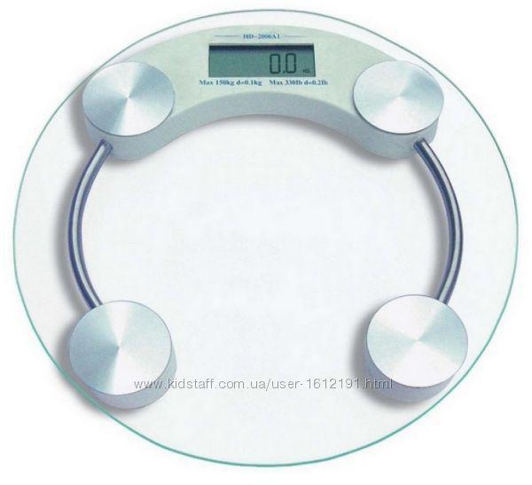 Весы напольные точные до 180 кг, стекло, электронные, тонкие , с температурой