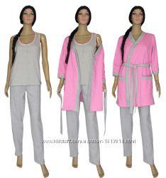 Теплый комплект тройка, халат с пижамой.