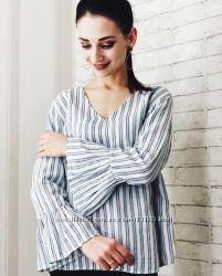 f6901342a04 Блуза полоску белая полосатая рубашка сорочка блузка оборками воланом рюшам