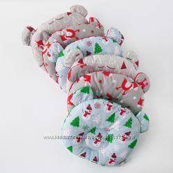 Анатомическая подушка новогодняя Мишка для детей с рождения