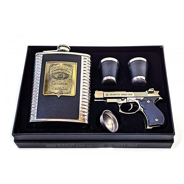 Фляга рюмки пистолет подарочный набор