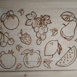 Пазл-раскраска овощи и фрукты