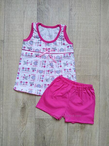 Летняя пижама для девочки майка и шорты 1, 2, 3, 4, 5, 6 лет